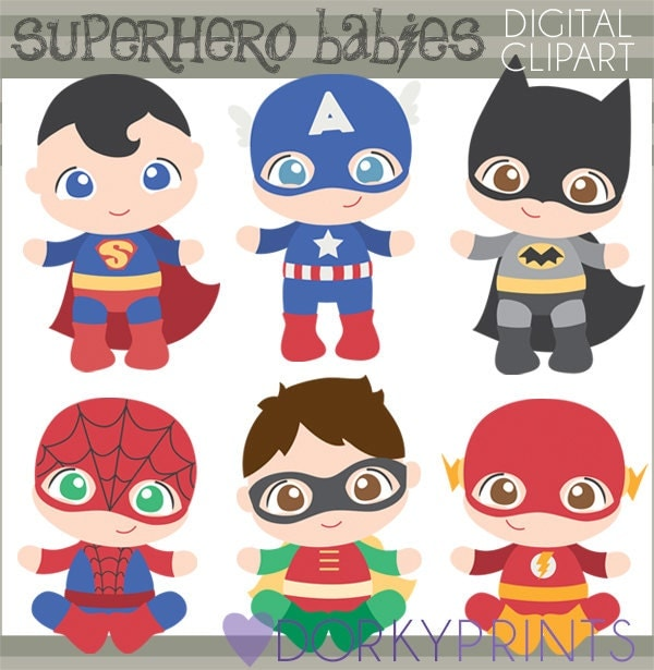 Superhero Baby Clipart Personal and Limited Commercial Use