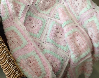 Pastel Pink and Palest Green Granny Square Blocks Crocheted Afghan/Lap Rug
