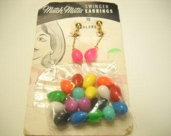 Vintage Match Mates Swinger Earrings (9407) Interchangeable Clip Earrings--Ten Pairs