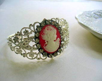 Red White Cameo Cuff Bracelet, Red and White, Cameo Jewelry, Metal Filigree Cuff Bracelet, Shinny Silver Cuff, Rhinestone, Gift for Her