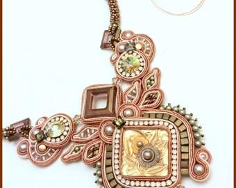 Antique rose, gold and olive Soutache necklace