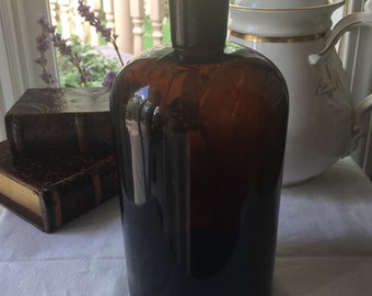 Antique Amber Apothecary Bottle Large Size 8.75 inch
