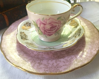 Aynsley Mismatched Teacup  Trio