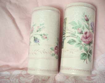 "Vintage Shabby Wallpaper Border Pink Rose Pearl on Ivory Prepasted Vinyl Two Rolls 5 yds. 4 1/4"" Wide Each"