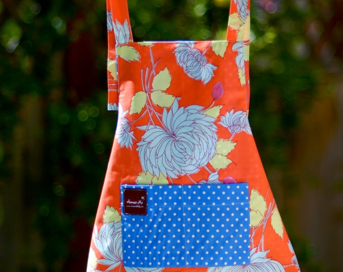 Childrens Apron with Pockets - Orange Apron - Organic Cotton Apron - Floral Apron - Bird Smock - Toddler Smock - Art Pinafore