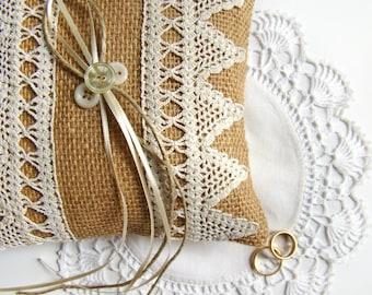 Burlap Ring Bearer Pillow, Rustic Wedding Pillow, Burlap and Lace Wedding, Vintage Crochet, Ring Bearer Cushion, Wedding Ring Holder