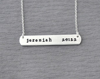 jeremiah 29 11 necklace, bible verse,hand stamped personalized necklace, hand stamped necklace, rectangle, jeremiah 29:11 jewelry, bible