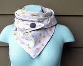 Triangle Scarf. White with colourful floral print. Flower print. Vintage fabric. Triangle Scarves. Grey corduroy.