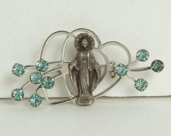 Vintage Virgin Mary Brooch blue Rhinestones