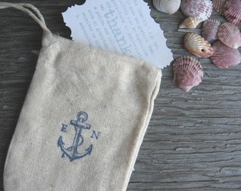 Anchor's Away Wedding Favor Bags, Set of 12 Muslin Favor Bags with Initials of Bride & Groom, Navy Blue Nautical Themed Wedding Favor Bags