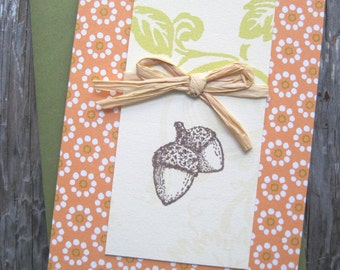 Autumn Acorns Blank Note Card Embellished with Raffia, Pumpkin, Olive, & Cream Background w/Floral Design in Dijon