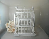 Vintage Wood Birdcage Decorative Bird Cage Rattan Cage Shabby White