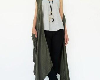 NO.199 Olive Double Cotton Gauze Asymmetrical Layered Draped-Front Vest, Women's Vest Top