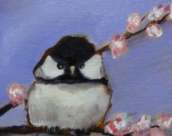 Chickadee Original Oil Painting 5 x 5""