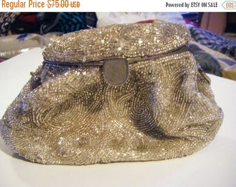 25% Off Storewide Sale Gorgeous Beaded Imperial Purse Shoulder Bag Silk Lined Snap Shut Silver Frame