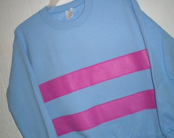 Undertale shirt, Frisk shirt, Frisk sweatshirt, costume, cosplay shirt, blue sweatshirt with magenta stripes, unisex adult sizes