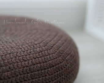Crochet cover for ALSEDA stool.  Rustic. Barley Brown. Brown. Home furnishing. Floor pillow. Cozy home decor. Cover. Floor cushion.
