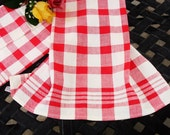 Kitchen Towel, Dishcloth, Vintage Towel, Checks, Red and White, 1970s vintage, Country chic, Farmhouse decor, Cotton Towel