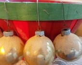 Vintage Shiny Brite Yellow snow capped with mica Christmas Ornaments (4) total - no hanger - no box