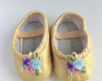 Baby Ballet Slippers - pale gold with trio pink blue purple vintage flowers - premie newborn toddler ballet slippers