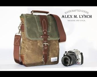 Waxed Canvas vertical Messenger bag - handmade 010031