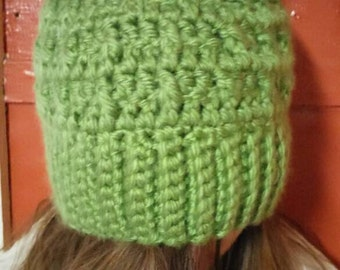 Thick green winter hat