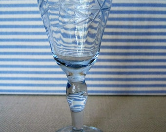 FOSTORIA  tiny  Azure  CORDIAL GLASS  Stem No 6005 etched Vintage Elegant Glass Collectible Blue Bar Glass Shot Glass Gift