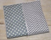 Gray and White Chevron or Gray Background and White Dots Burp Cloths Your Choice, 5.00 Each