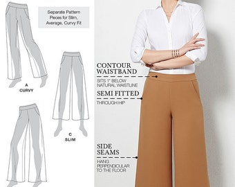 UNCUT Pants Pattern Simplicity 0300 or 1017 Size 6-8-10-12-14-16-18-20-22 Wide Leg, Curvy, Palazzo Pants, Straight Leg