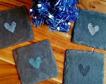 xoxo Heart Slate Coasters (Set of 4) Wedding, Bachelorette, Valentine's Day, Birthday, Anniversary
