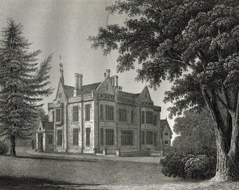 Antique Victorian, lot 5 etching engraving prints - British stately homes - Coolhurst, Westdean, Petworth, Holmbush, Shermanbury