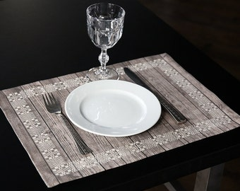 Placemats - Linen placemats - Set of 2 - Rustic wood - 30 x 42 cm (12 x 16,5 in)