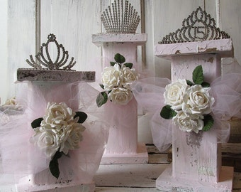 Wood pillar column trio shabby cottage chic pink painted romantic vintage displays for collectibles or candles home decor anita spero design