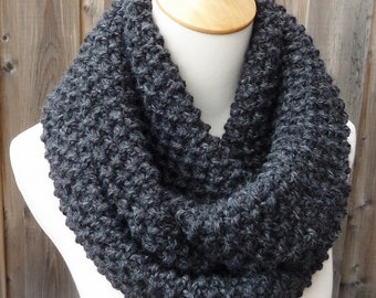 Charcoal Gray Infinity Scarf - Dark Gray Wool Infinity Scarf - Lambswool Scarf - Bulky Knit Scarf - Circle Scarf - Ready to Ship
