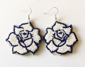 Beaded White Rose Earrings