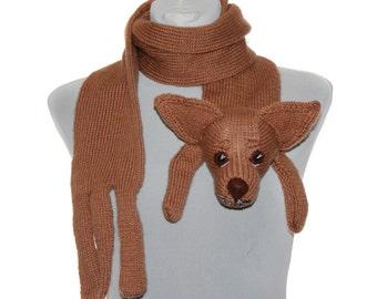 Chiweenie Dog / Knitted Scarf / Pet Scarf / Beige  / Dog scarf / knited dog scarf / animal scarf / Dog Breed Scarf / custom pet portrait
