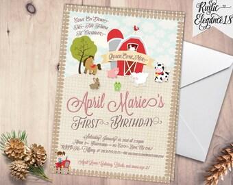 Girl Barnyard Birthday Invitation- Farm Animals-Pig, Cow -Custom Printable-5x7 or 4x6 Inches-Farm Invites