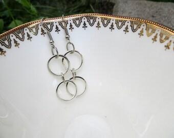 Silver Hoop-Linked Drop Earrings
