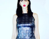 Holographic Trippy Silver High Neck 80's 90's Rave City Goth Glam Free Shipping U.S. Rocker Medium
