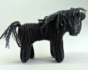 Waldorf inspired TOY HORSE - GREY - Traditional Waldorf knitted Horse. Horse toy stuffed animal. 100% wool. Australia