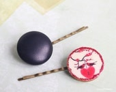 Bird hair pins , Couple birds,  Red Heart, brown Leatherette, romantique barrette, cute hair jewelry, love headpiece, best seller hairstyle