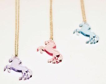 Unicorn Necklace. Laser Cut Necklace. Unicorn Pendant. Pastel Unicorn. Clear Pastel Acrylic. Horse with a Horn. Mythical Creature Pendant.