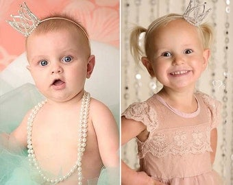 crown headband, photo prop   fits toddler to child   silver or gold   Aleeya