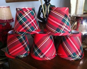 Red tartan chandelier lampshade plaid shade tartan chandelier shades