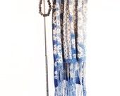 "Vintage 1970s Light Stonewash Indigo Shibori Cotton Bogolanfini Mudcloth from Mali with Zig Zag Motif + Long Fringe | 66"" X 30"""