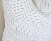 Schumacher Blue & White Geometric Linen Pillow - Deconstructed Stripe Pillow Cover - Miles Redd - Throw Pillow - Blue Pillow - Motif Pillows