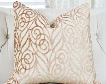 Brown Pink Pillow - Velvet Geometric Pillow Cover -Taupe Beige Pink Pillow - Velvet Throw Pillow - Designer Pillow - Old Rose