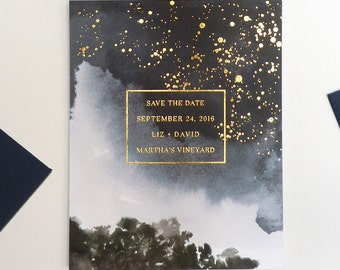 Celestial gold foil Save the Date