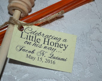 Honey Dipper with Honey Sticks Baby Shower Favors // Honey Baby Shower Favors // A Honey Is On His/Her Way Baby Shower Favors // SET OF 50