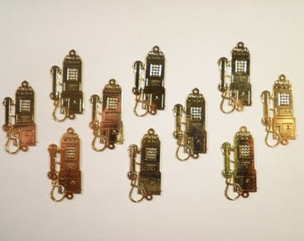 10 Gold Plated Pay Phone Charms
